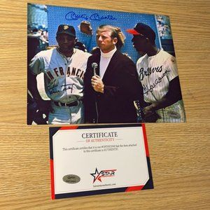 Hank  Aaron Mickey Mantle Willie Mays signed